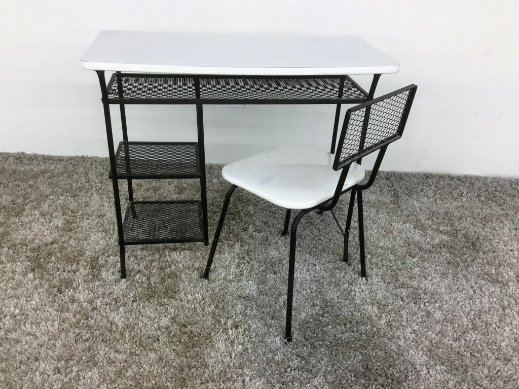 Mid Century Metal Desk and Chair