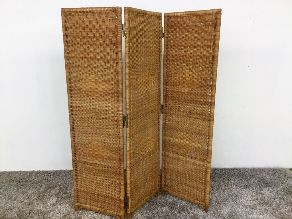 Vintage 3 Panel Folding Wicker Screen
