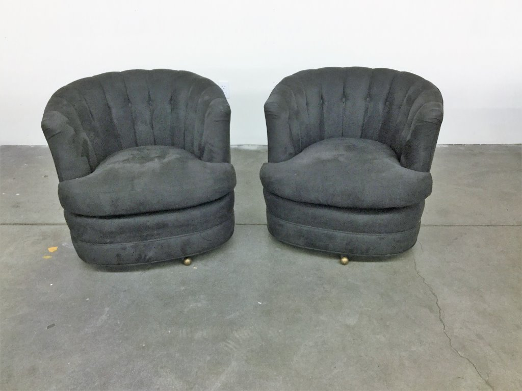 PAIR CHANEL BACK SWIVEL BARREL CHAIRS