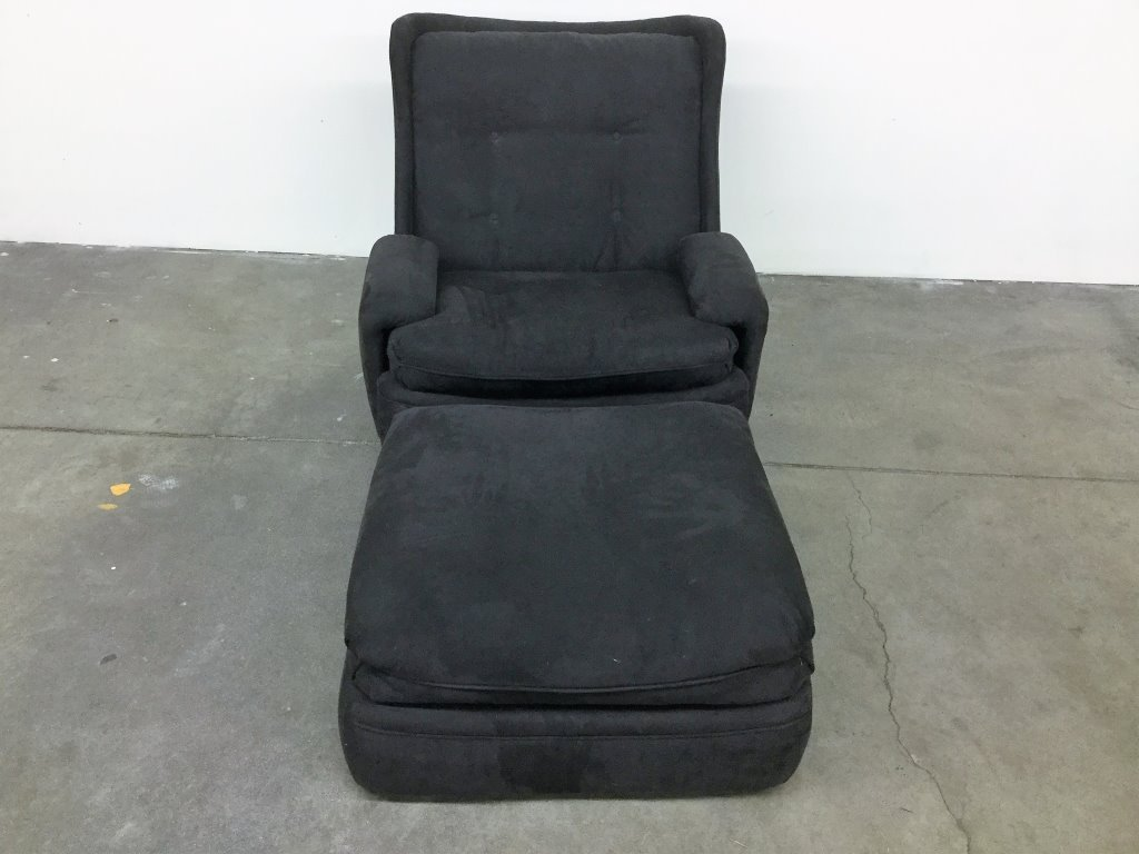 CHARCOAL GREY ARM CHAIR AND OTTOMAN