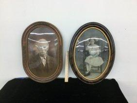 Pair Oval Antique Portraits