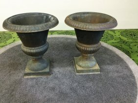 Pair Cast Iron Planters