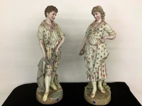 Pair Porcelain Hand Painted Figurines