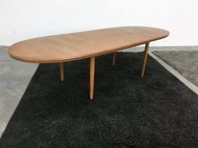 Mid Century Danish Modern Oval Dining Table