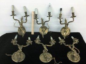Set Of Six Brass Wall Lights
