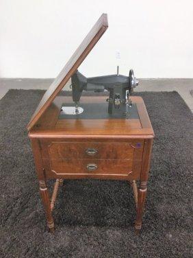 Kenmore Sewing Machine In Walnut Cabinet