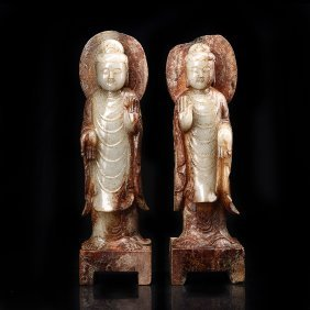 Chinese pair of ancient jade Buddha