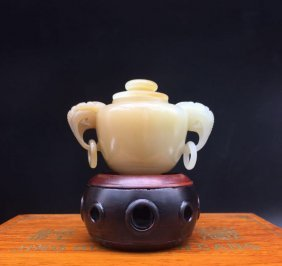 Vintage Chinese Hetian Jade Heads Incense Burner