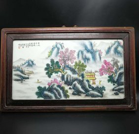 Chinese Famille verte painted porcelain table screen
