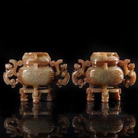 Chinese Ears Chinese han dynasty jade incense burner