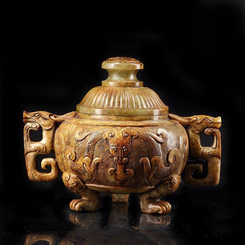 Chinese Hetian Jade Dragon Head 3 Legs Incense Burner