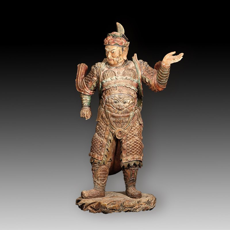 Chinese  Tang Dynasty Wood Star Warrior Statue