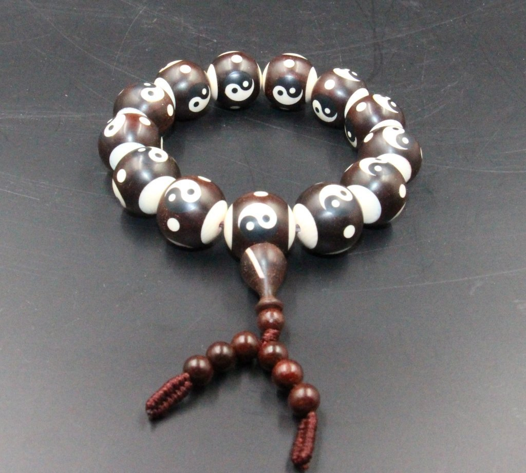 Chinese Animal Tooth Inlaid In Rosewood Bracelet