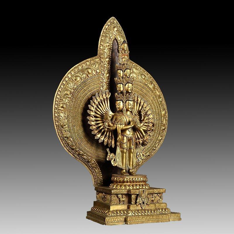 Chinese Gilt Bronze Thousand Hand Guanyin - 3