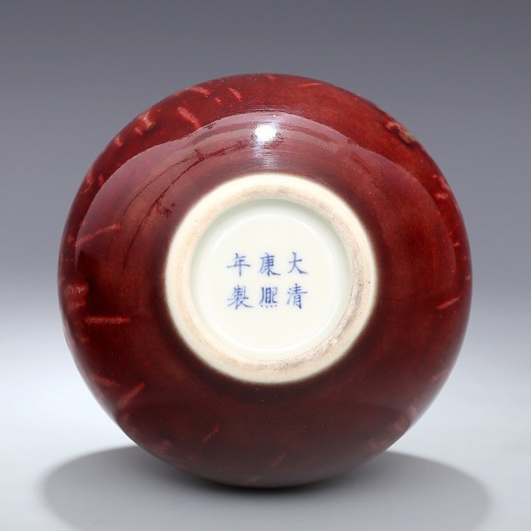 Chinese Qing Kangxi Red Porcelain  Vase - 7