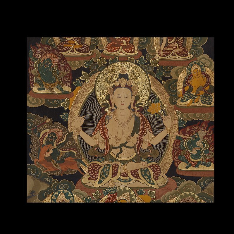 Buddhist Thangka. Tibet. Early 20th century. Mineral - 2