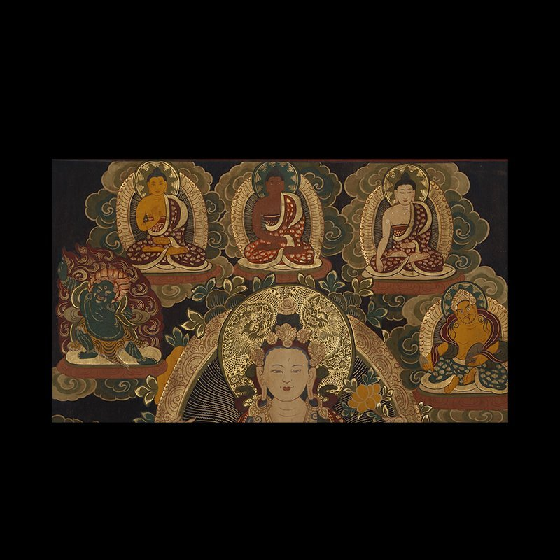 Buddhist Thangka. Tibet. Early 20th century. Mineral - 3