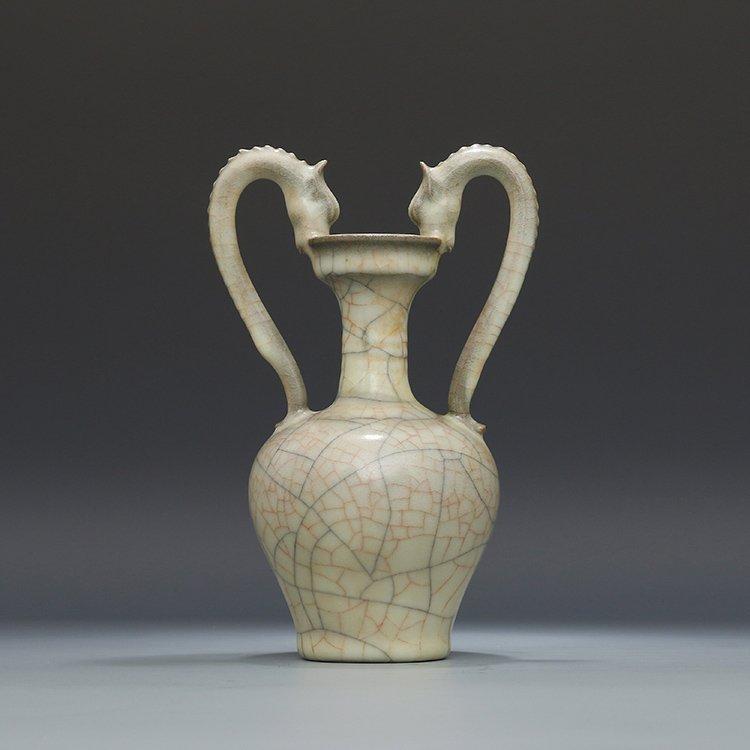 Chinese Ge kiln Porcelain Double Dragon Vase