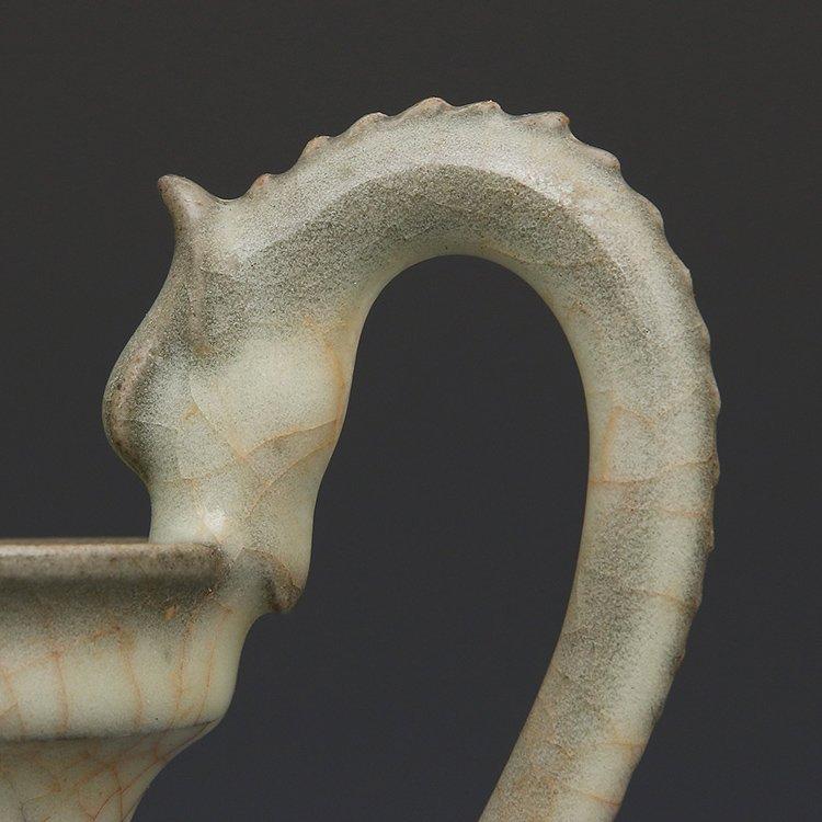 Chinese Ge kiln Porcelain Double Dragon Vase - 8