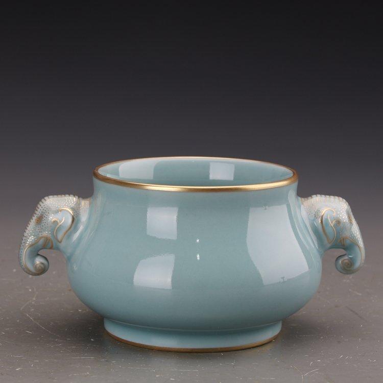 Chinese Powder blue glaze  Porcelain Incense burner