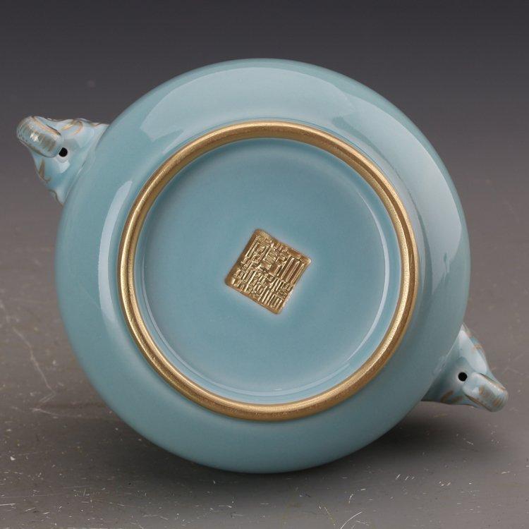 Chinese Powder blue glaze  Porcelain Incense burner - 4