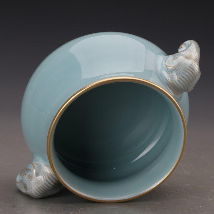 Chinese Powder blue glaze  Porcelain Incense burner - 5