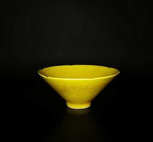 Chinese Yellow glaze dragon Porcelain Bowl