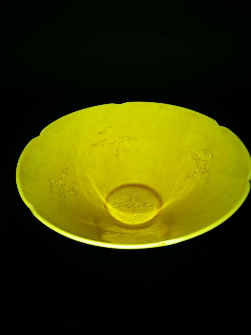 Chinese Yellow glaze dragon Porcelain Bowl - 2