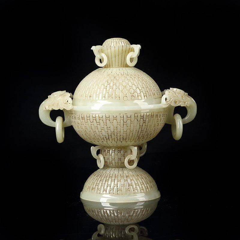 Chinese Hetian jade three legs with cover incense burne