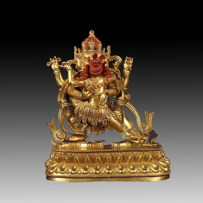 Sino-Tibetan Gilt Sterling silver Figure Of Buddha