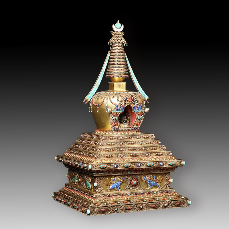 Tibetan Buddhism tower of silver with  jewel - 2