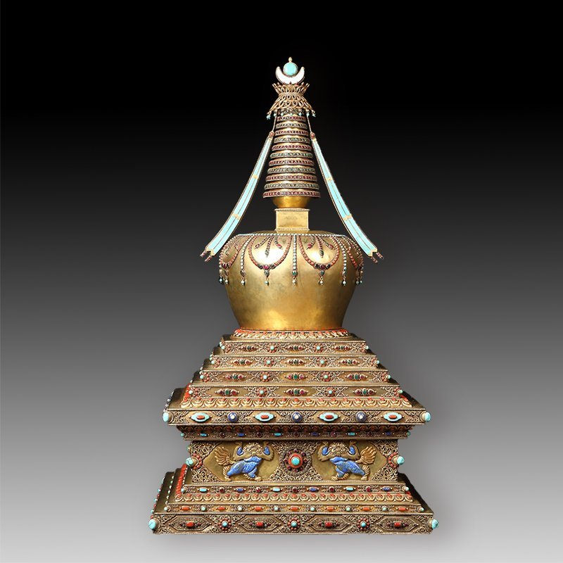 Tibetan Buddhism tower of silver with  jewel - 4