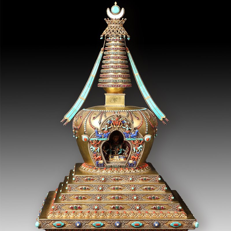 Tibetan Buddhism tower of silver with  jewel - 6