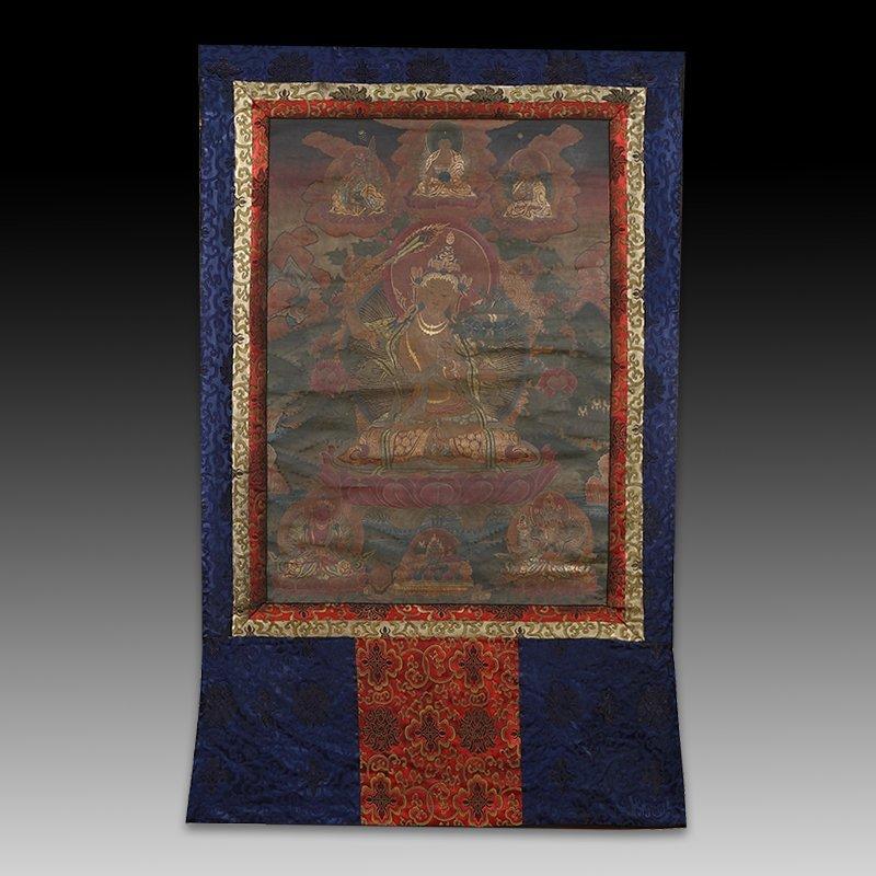 Chinese  painted brocade mounts silk Thangka
