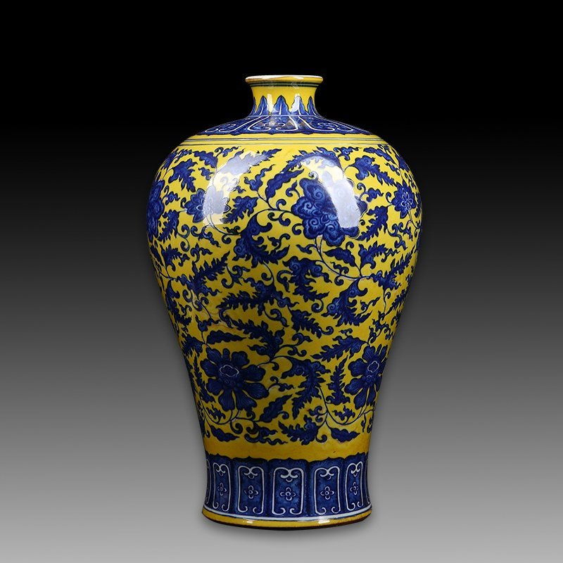 Chinese Blue And Yellows Porcelain Vase