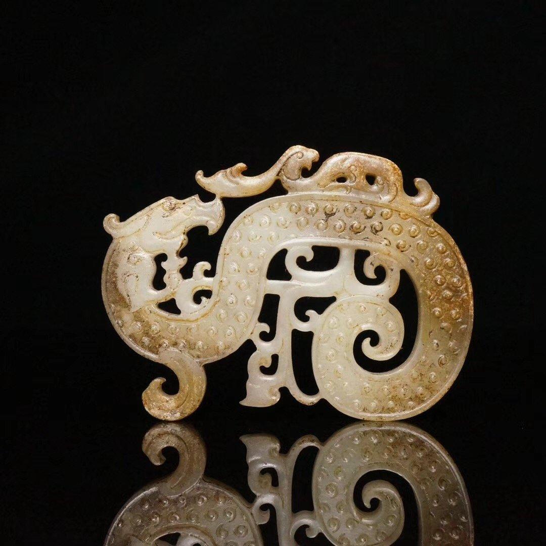 Chinese  Hetian Jade Statue Dragon