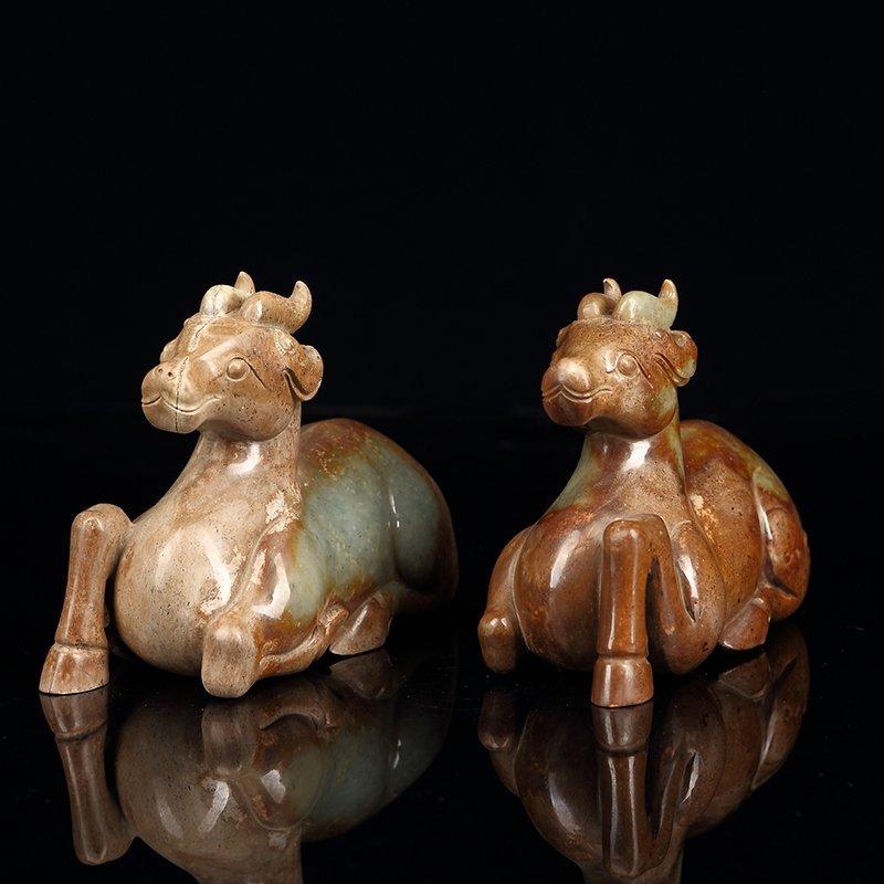 Pair of Chinese ancient jade deer