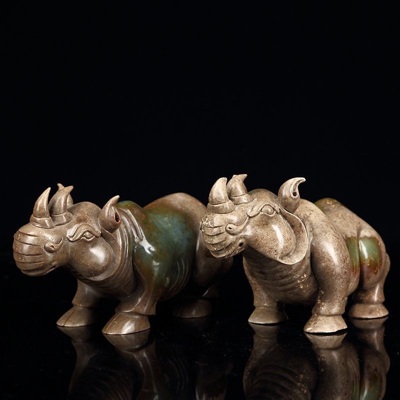 Pair of Chinese  ancient jade rhinoceros