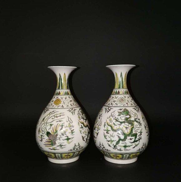 Pair Chinese Doucai Porcelain Vase