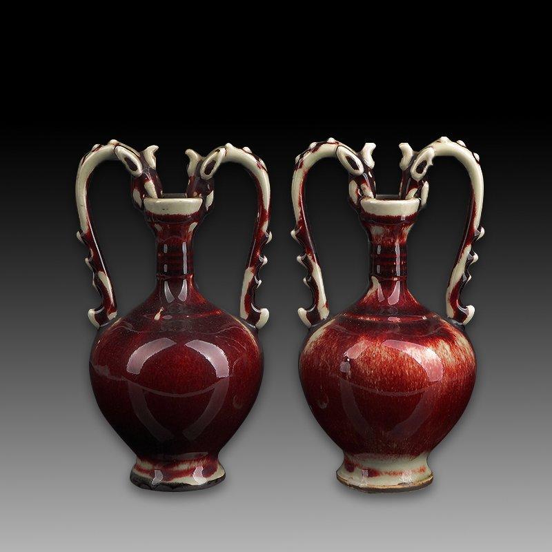 Pair of Chinese Red Glazed Dragon Porcelain Vase