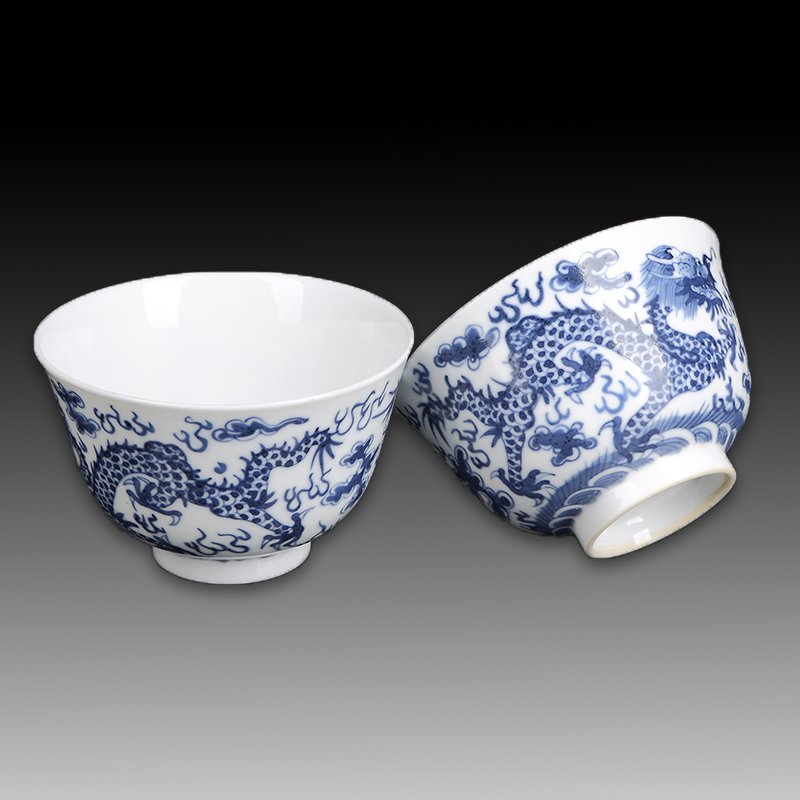Pair Chinese Blue And White Porcelain Bowls