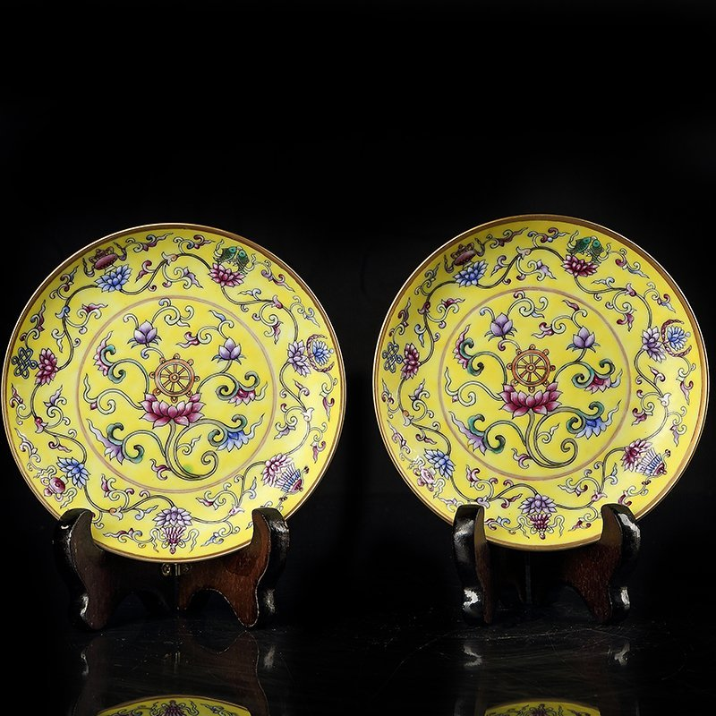Pair of Chinese Famille Rose Porcelain Plate