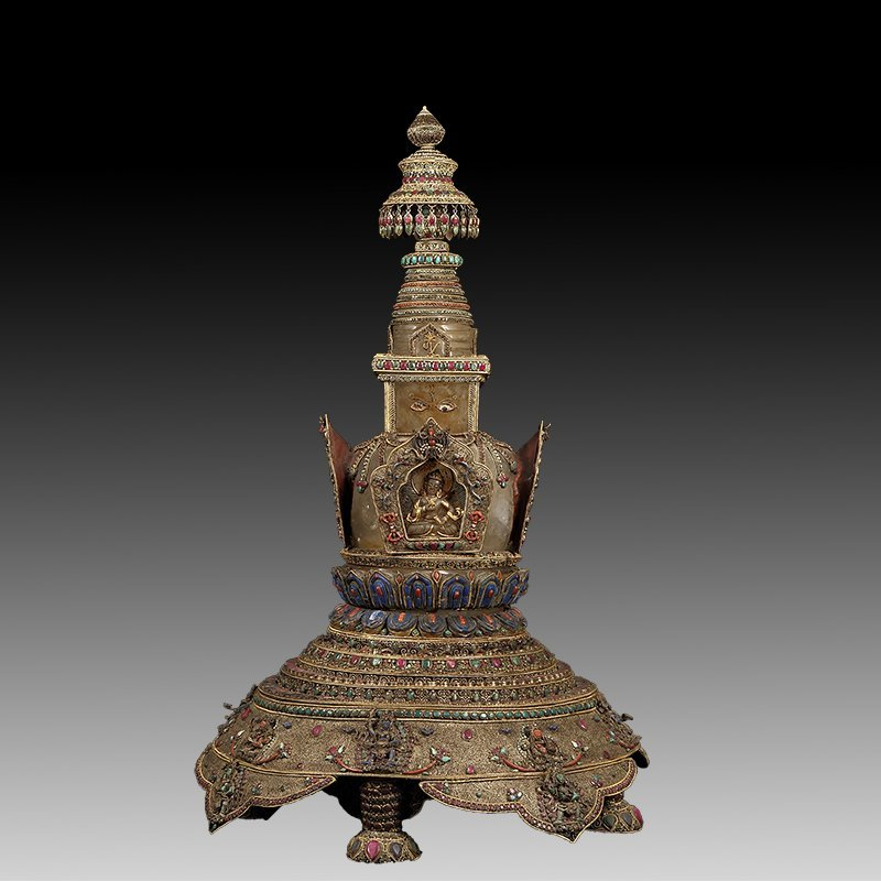Tibetan silver with  Buddhism Tower