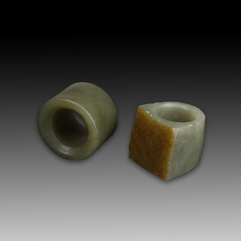 Pair of Chinese Qing Style jade Archer Ring