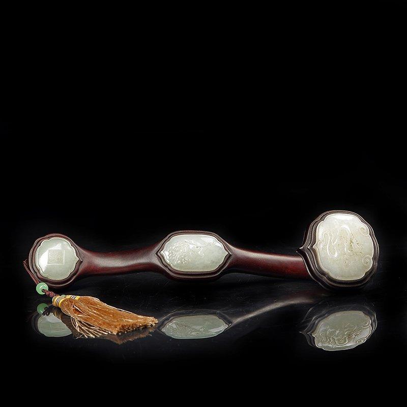 Chinese lobular red sandalwood Hetian jade inlaid in