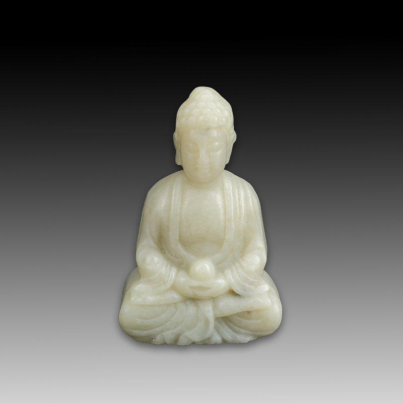 Chinese Hetian White jade Buddha