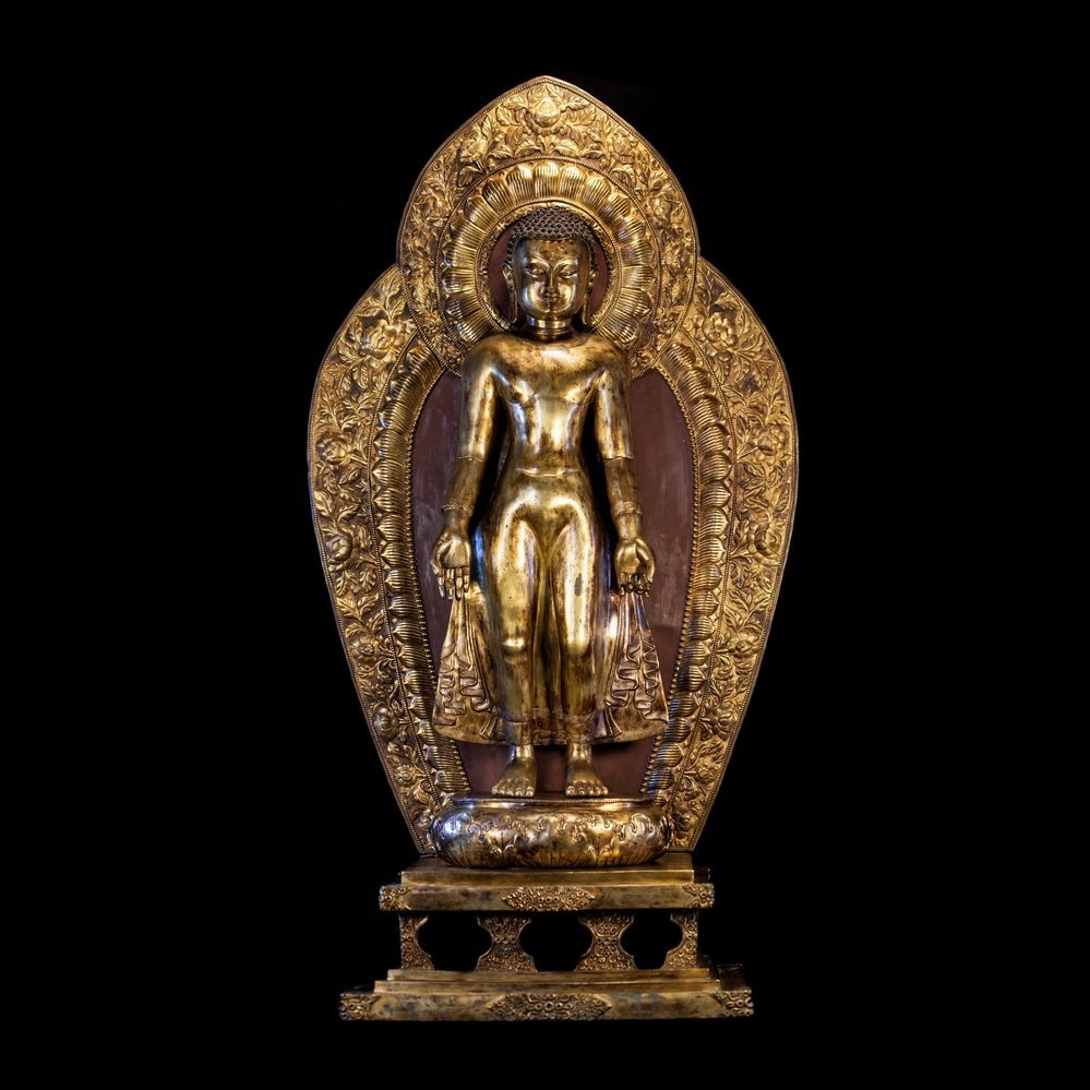 Chinese Qing Dynasty  Tibetan Bronze Stand Buddh