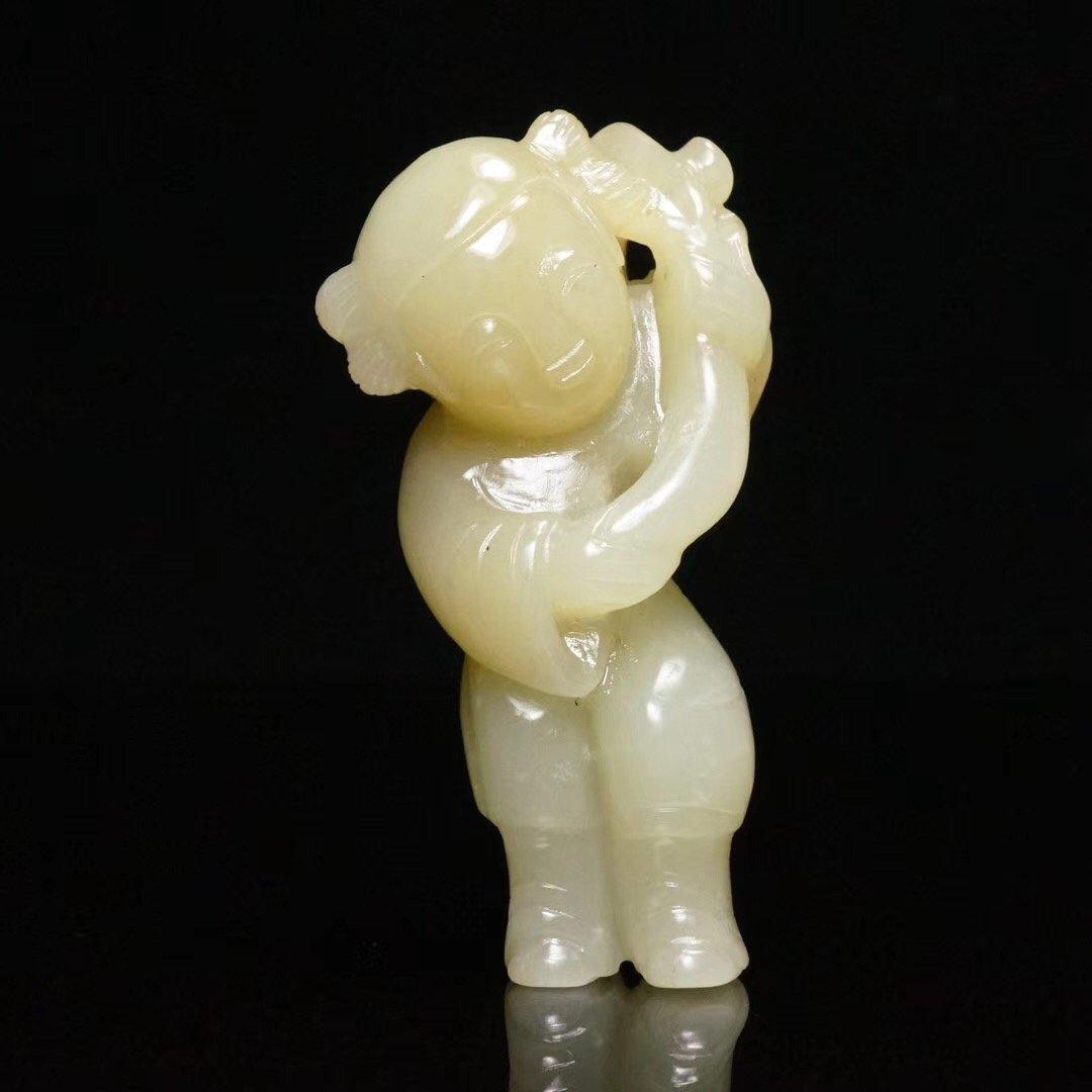 Chinese Qing Dynasty White jade Child
