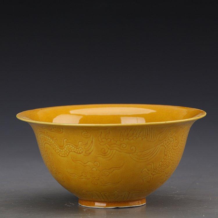 Chinese Yellow  Dragons Porcelain Bowl