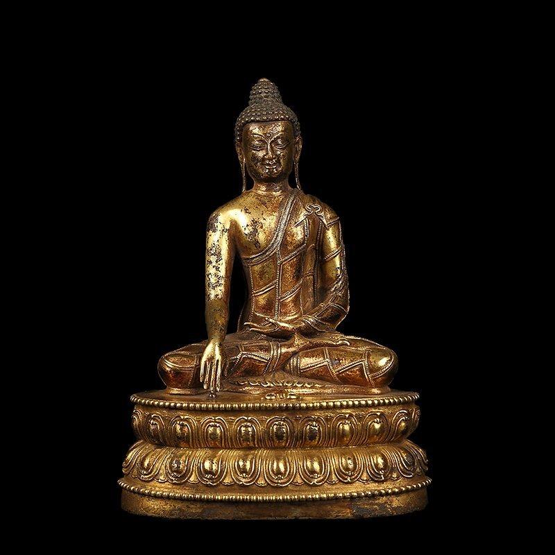 Chinese Qing Dynasty Tibetan Bronze Buddh